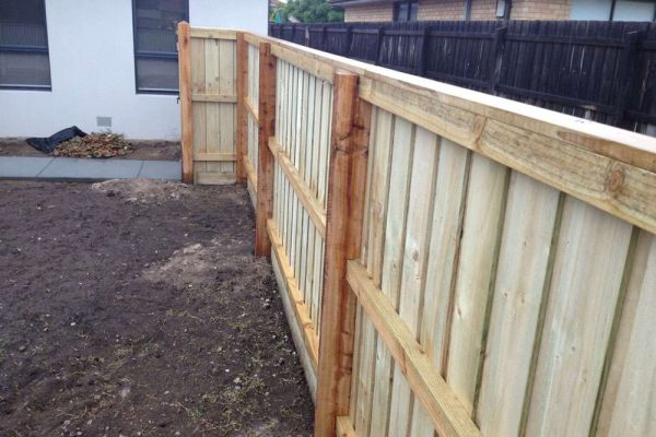 Treated Pine Paling Fence with Capping Rear View