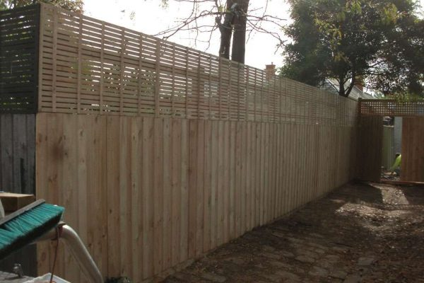 Treated Pine paling fence with Privacy Screen