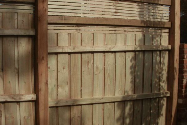 Treated Pine Paling fence with privacy Screen - Rear view