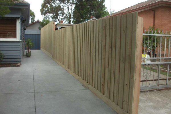 Treated Pine Paling fence with step up for additional privacy