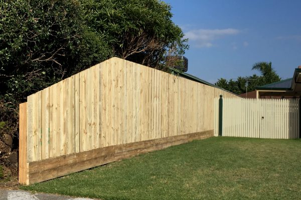 Treated Pine Paling fence with Double 150/38 Plinth