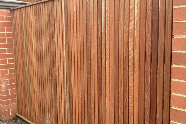 Feature Batten fence with 42/16 Red Ironbark and hidden fixings