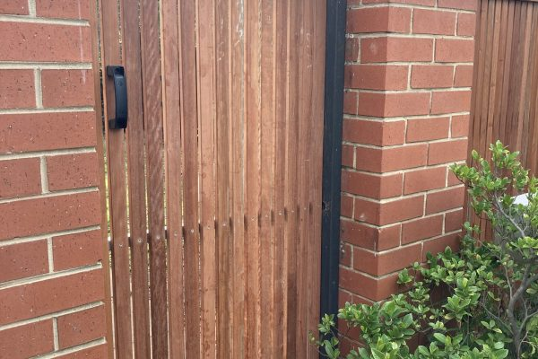 Single gate clad with 42/19 Red Ironbark battens with 86/19 Upper rail