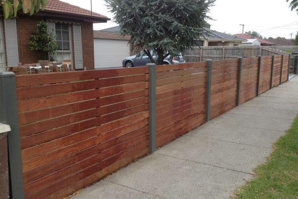 Horizontal Merbau Slat Fence with Powder coated Steel Posts