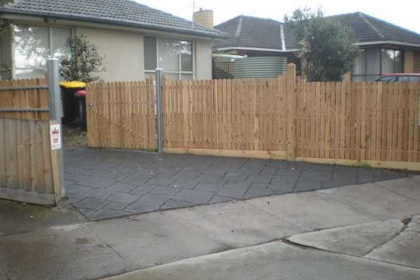 Double gates with Cypress pickets