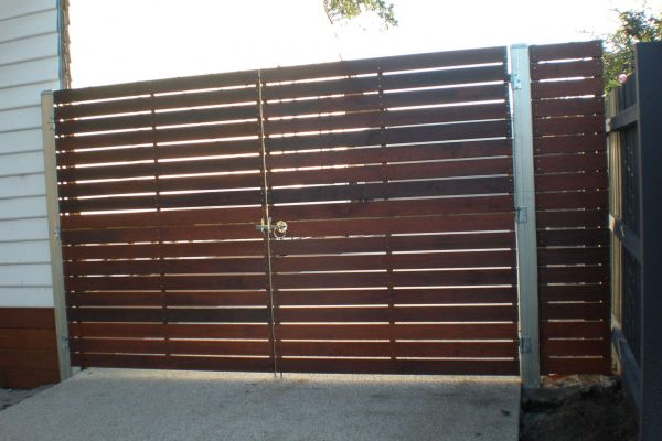Merbau clad Double Gates hung on Galvanized Steel posts