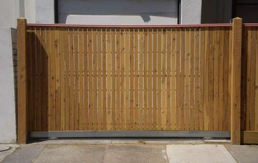 Sliding Gate with Cypress pickets and Handrail Capping