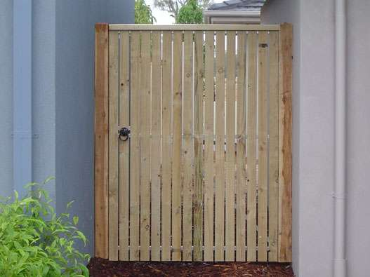 Single gate clad with Treated Pine pickets and Gabled Lipped Capping