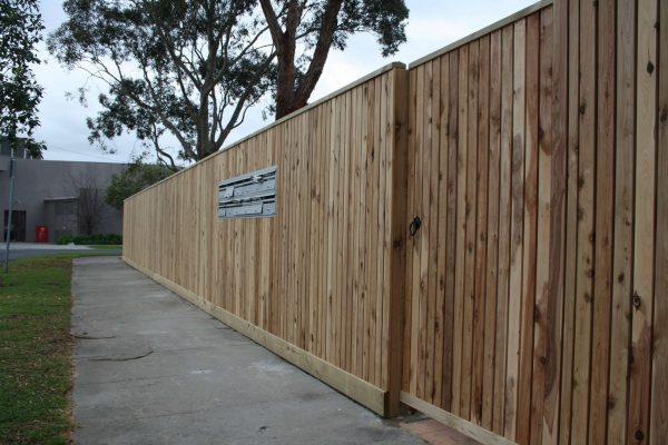 Cypress picket Feature fence with Capping. Concealed posts