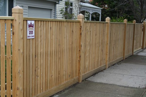 Picket fence with Exposed posts and Gabled Lipped Capping.