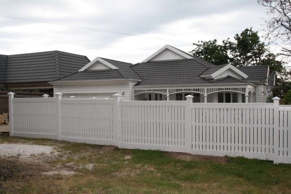Feature Picket fence with Expose posts. Stepped and Level